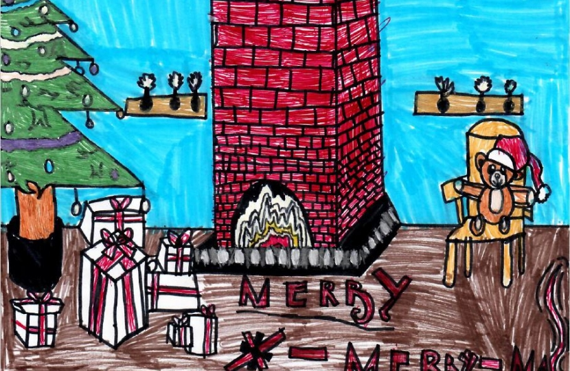 Fireplace charistmas card